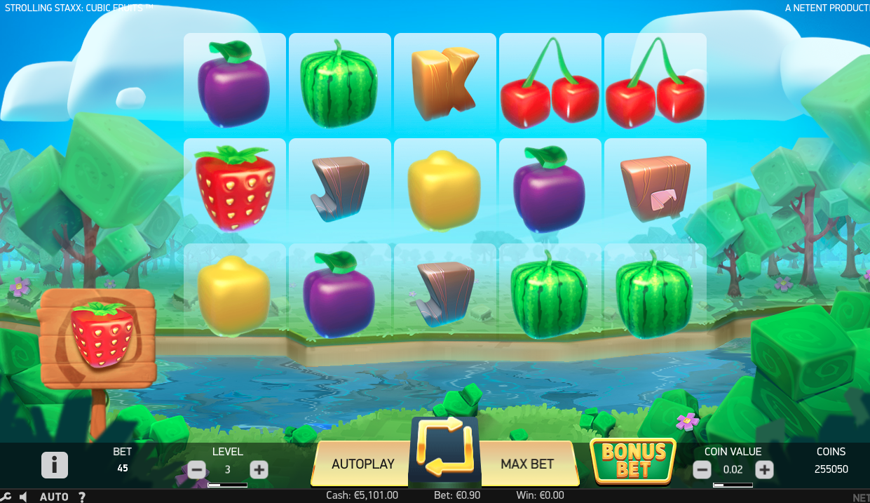 strolling staxx slot review main screen