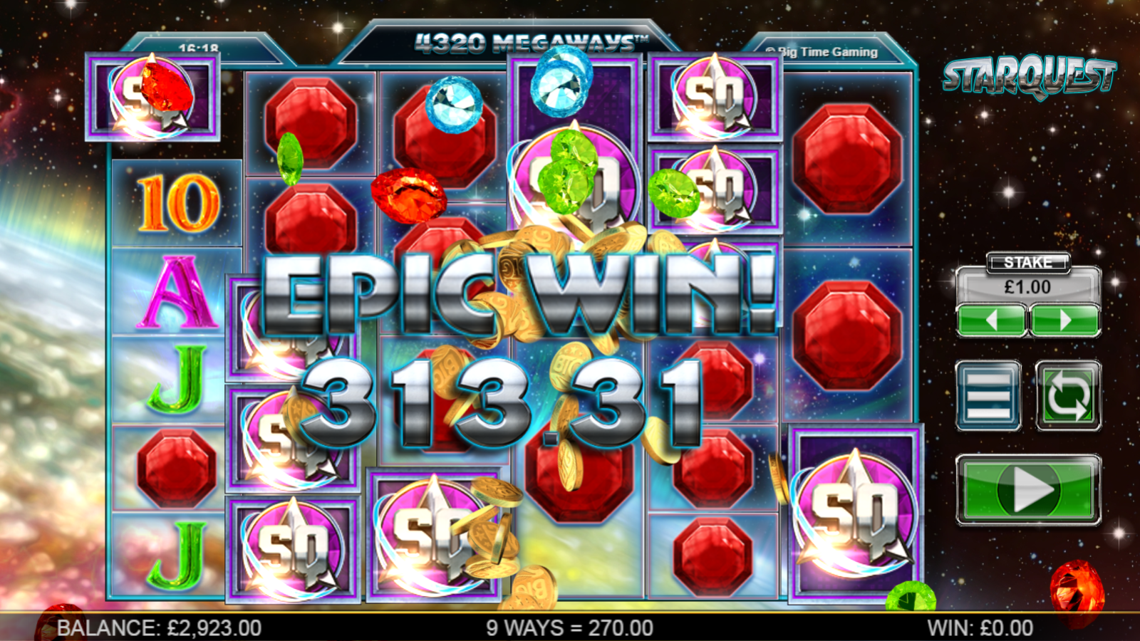 big time gaming slots star quest big win screenshot